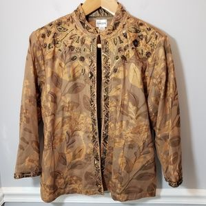 Brown Chico's Leaf Print Sequined Blazer